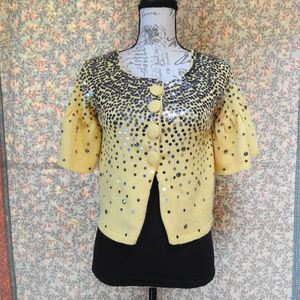 LaROK sequined yellow cardigan in small